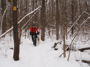 Jeremy Verbeke trying a fatbike for the first time at River Bends Park.